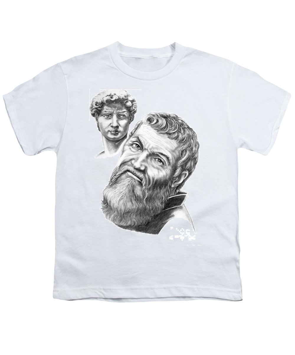 Michelangelo Youth T-Shirt featuring the drawing Michelangelo And David by Murphy Elliott