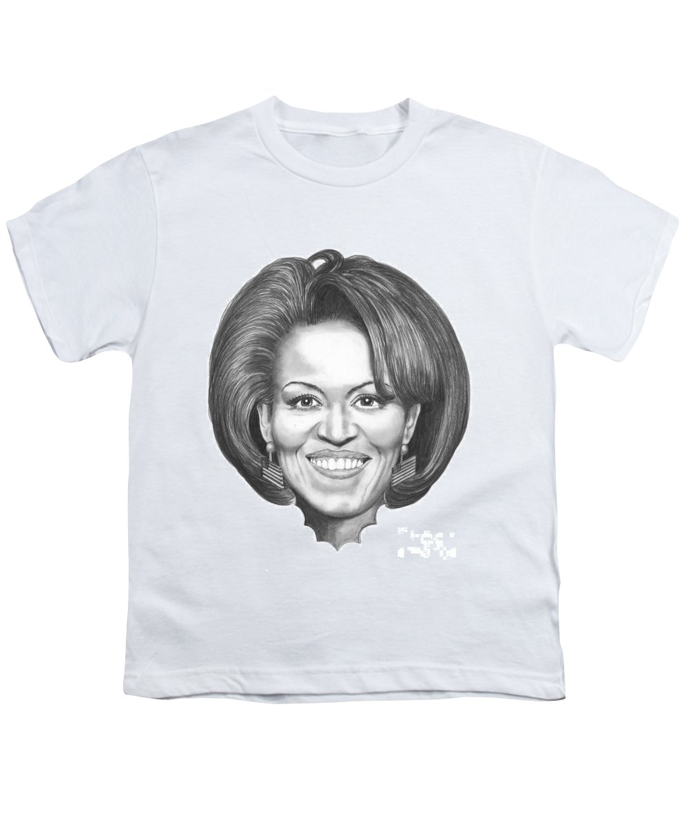 Drawing Youth T-Shirt featuring the drawing Michelle Obama by Murphy Elliott