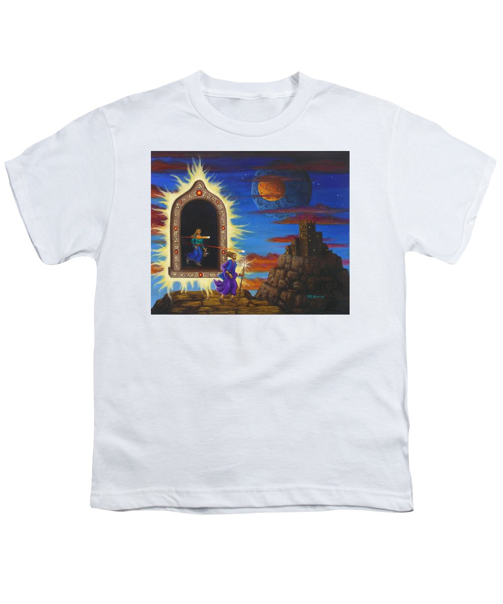 Fantasy Youth T-Shirt featuring the painting Narrow Escape by Roz Eve