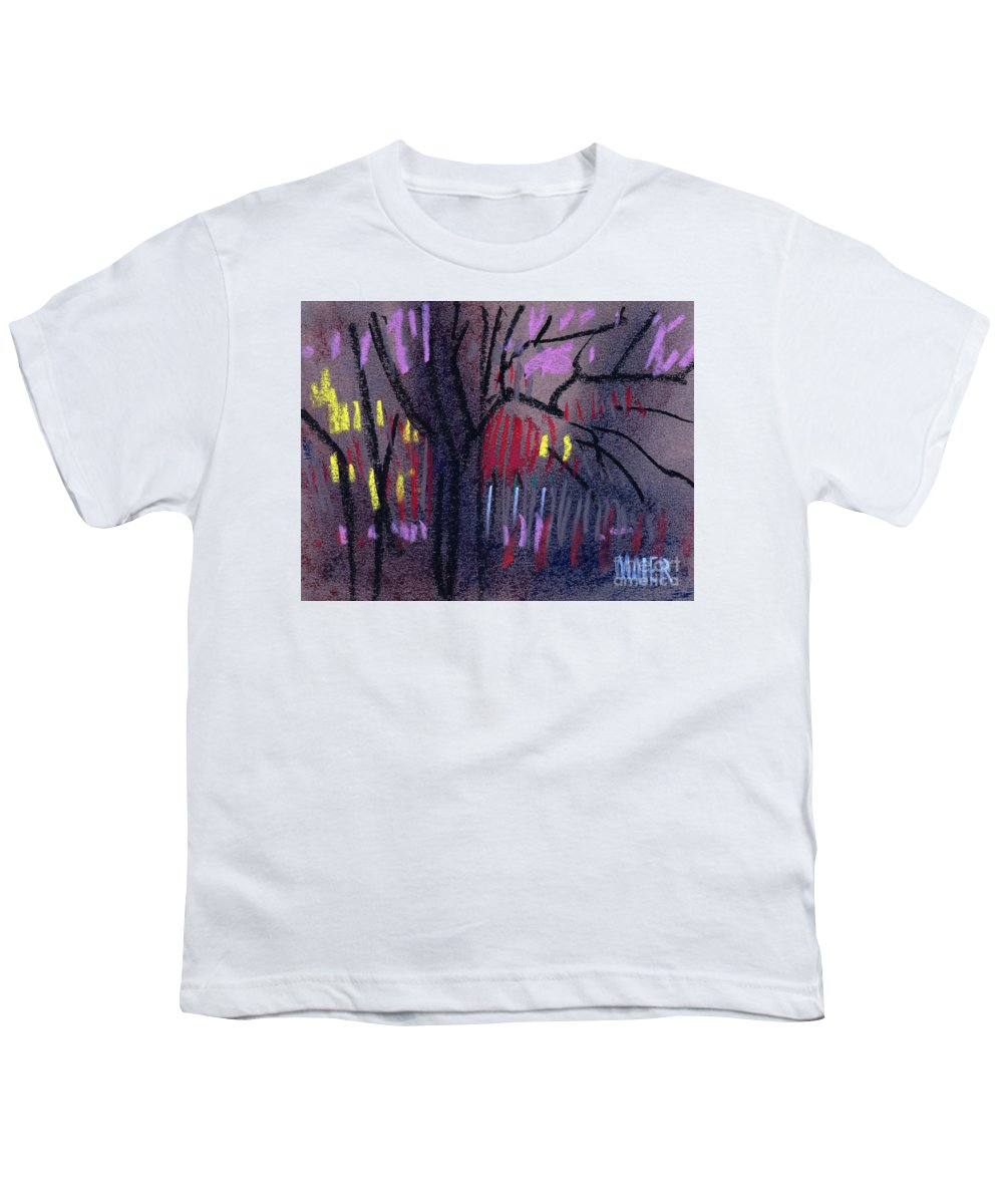 Abstract Youth T-Shirt featuring the drawing Neighbor's Lights by Donald Maier