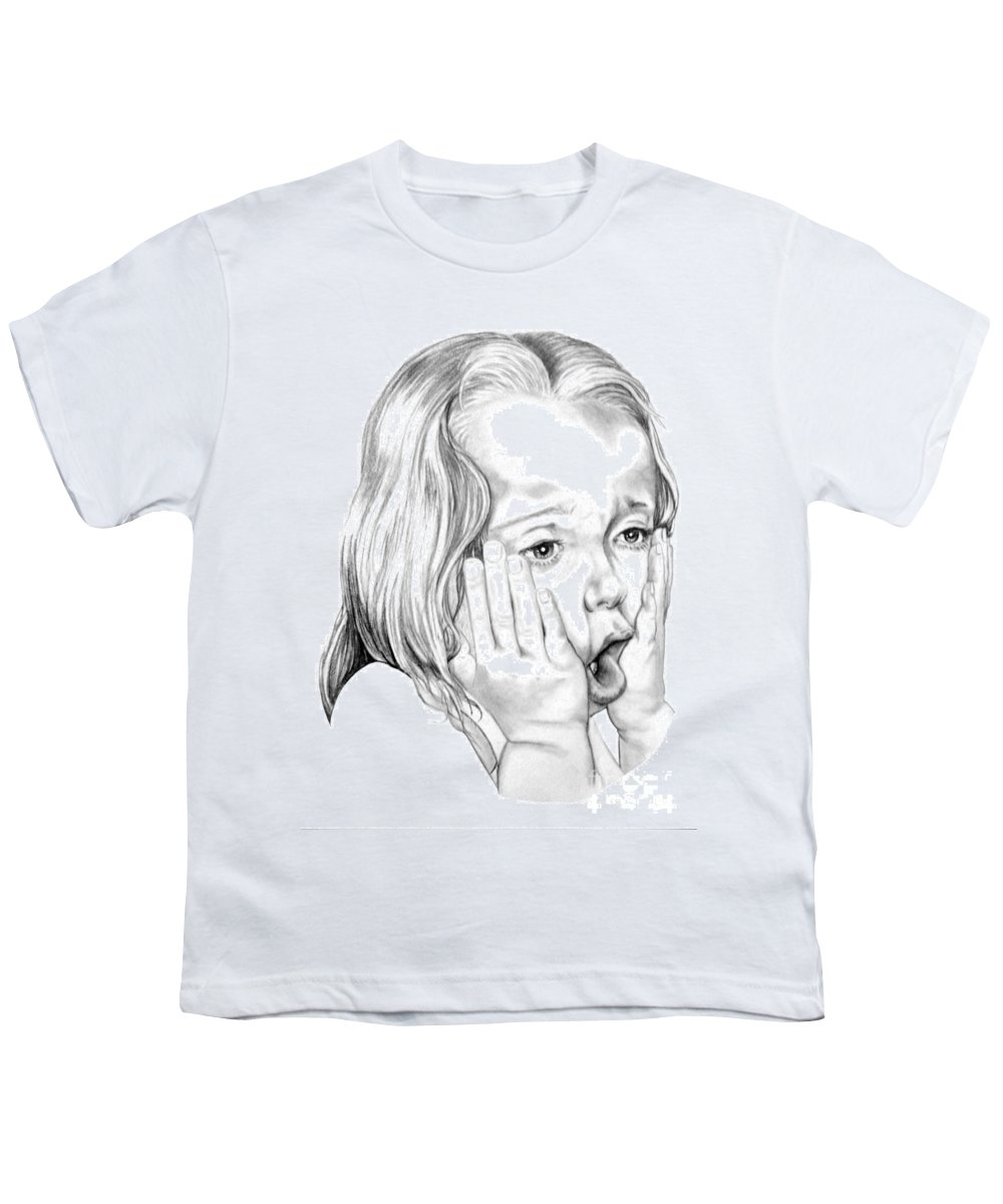 Portrait Youth T-Shirt featuring the drawing OMG by Murphy Elliott