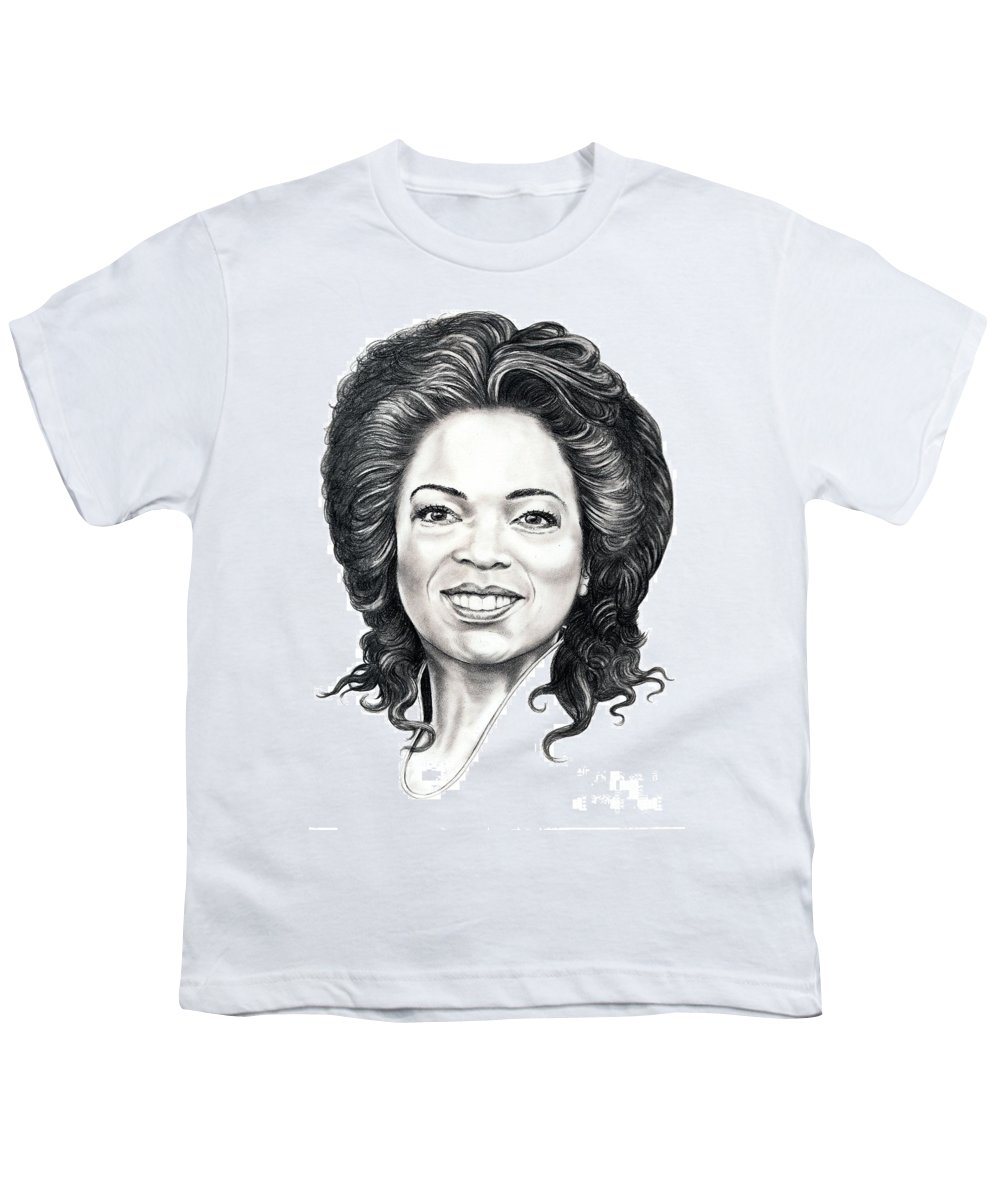 Oprah Youth T-Shirt featuring the drawing Oprah Winfrey by Murphy Elliott
