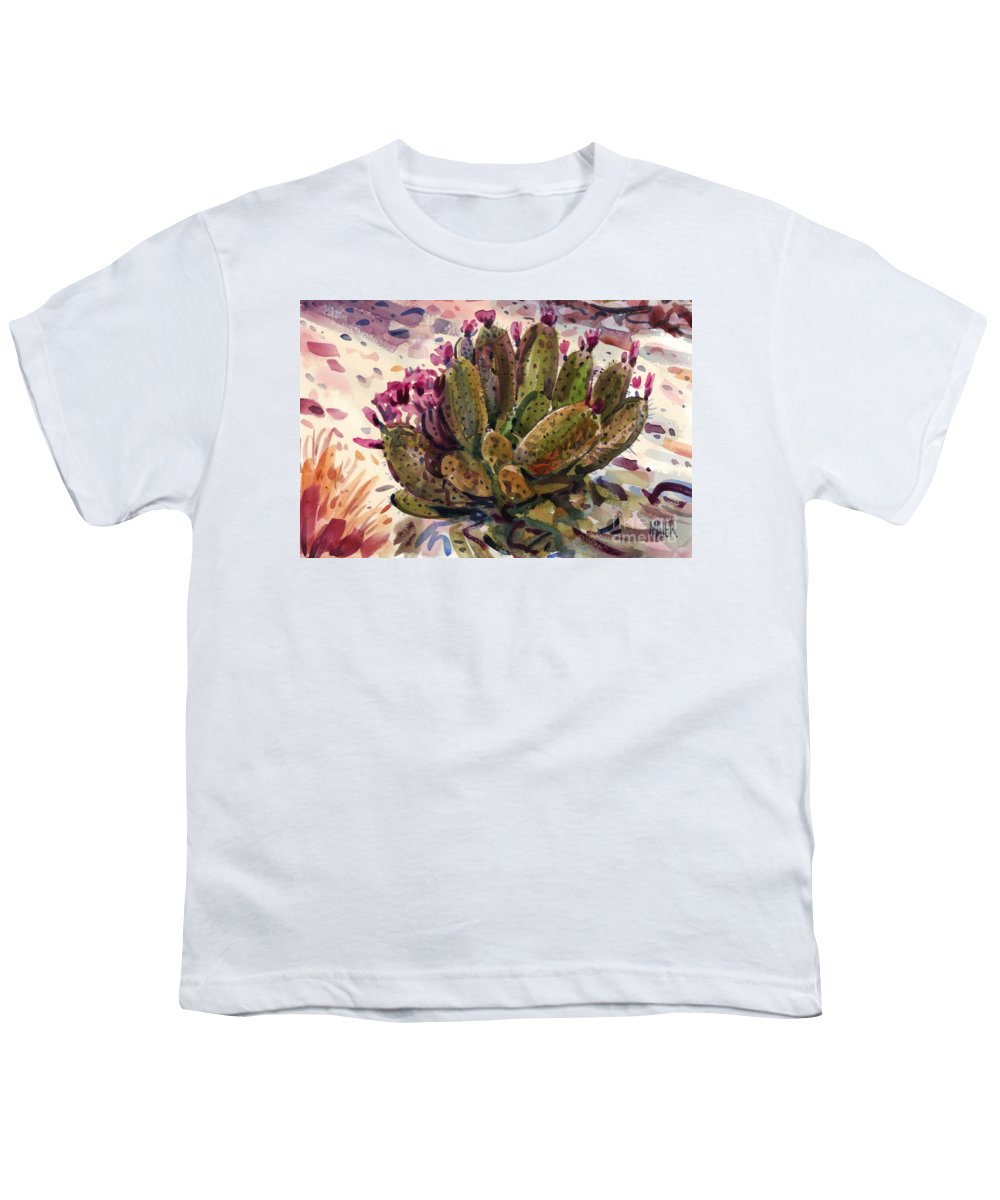 Opuntia Cactus Youth T-Shirt featuring the painting Opuntia Cactus by Donald Maier