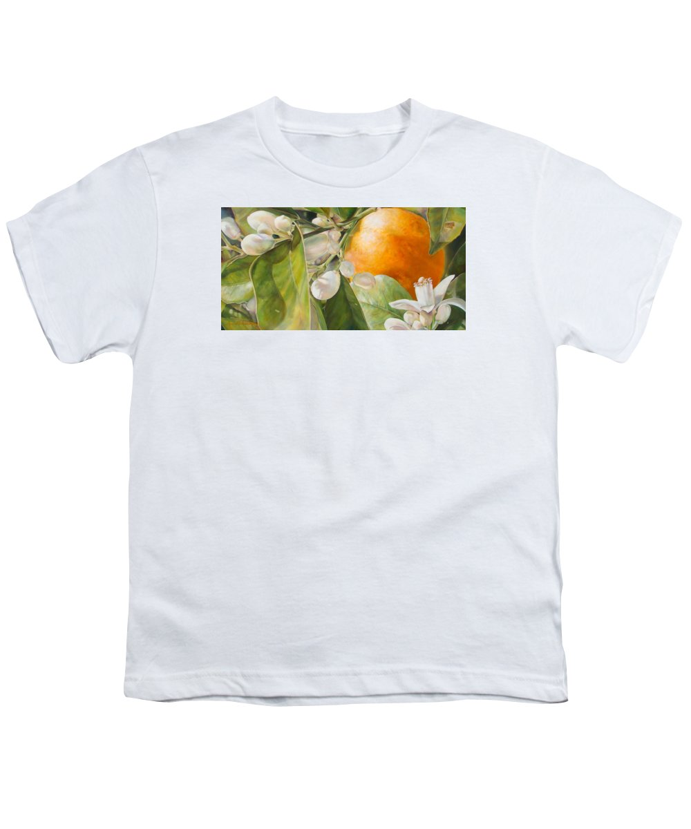 Floral Painting Youth T-Shirt featuring the painting Orange Fleurie by Dolemieux