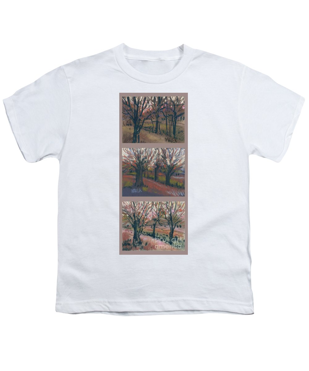 Pastel Youth T-Shirt featuring the drawing Orchard Sunset by Donald Maier