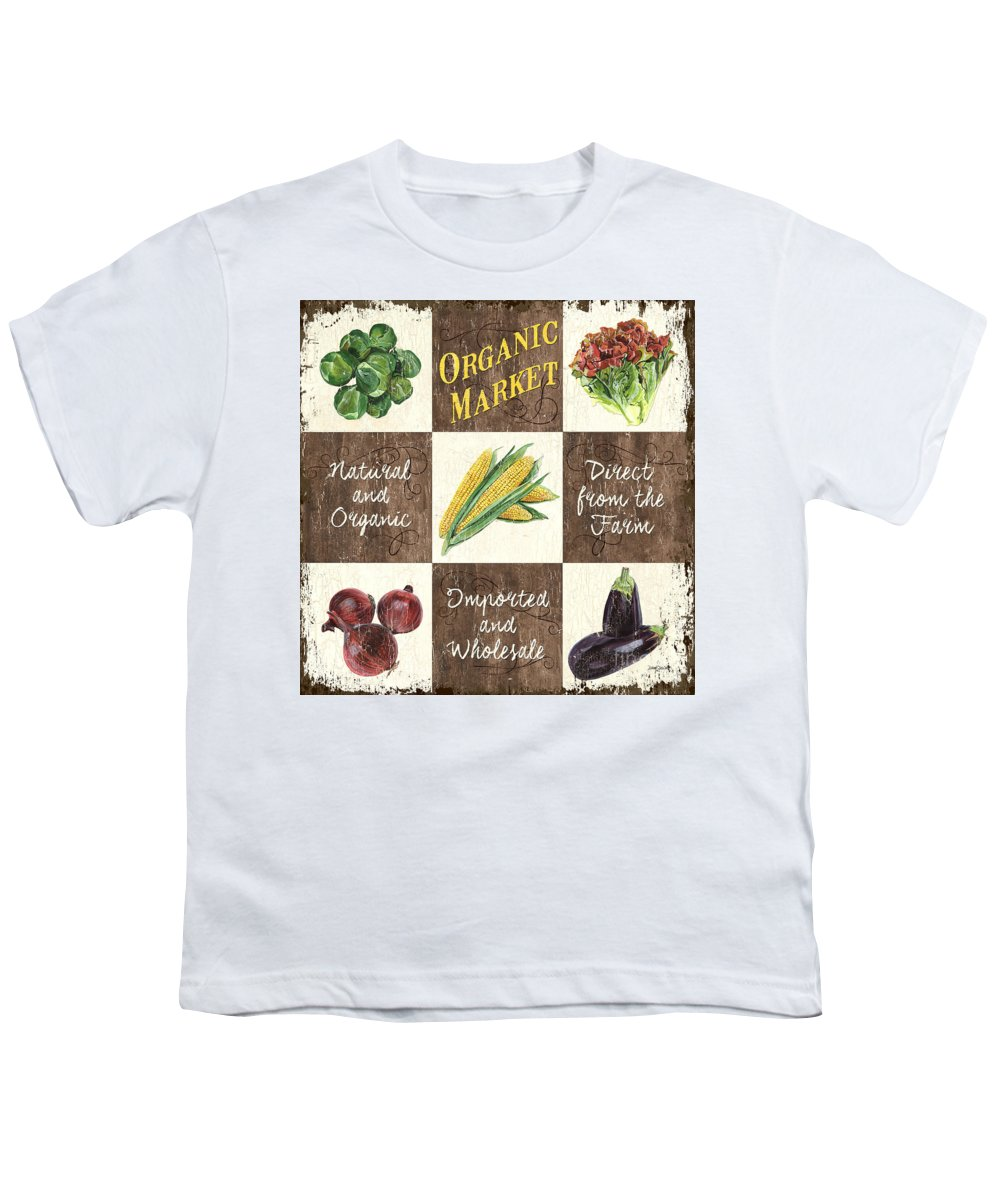 Organic Youth T-Shirt featuring the painting Organic Market Patch by Debbie DeWitt