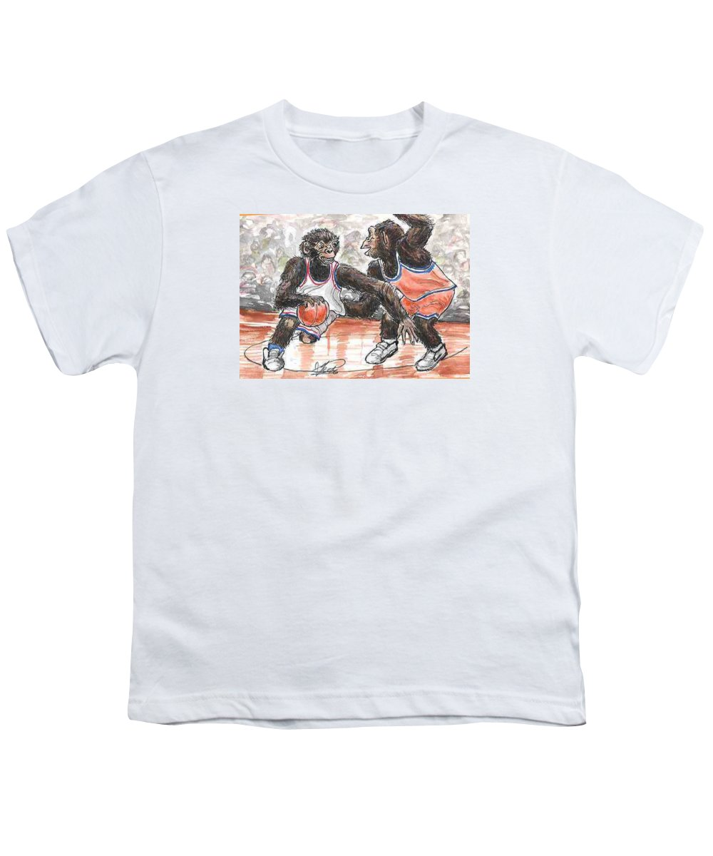 Basketball Youth T-Shirt featuring the painting Out Of My Way by George I Perez
