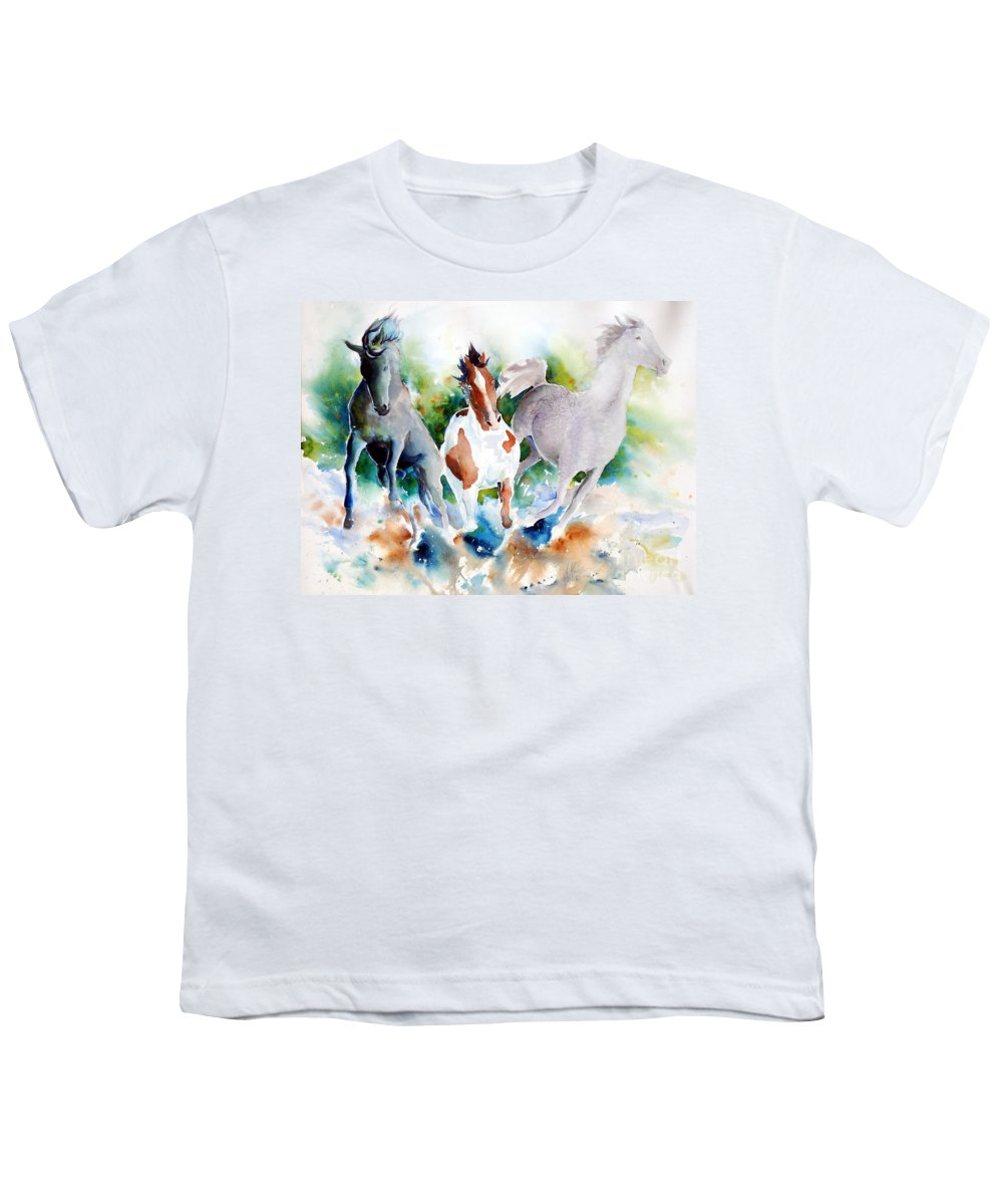 Horses Youth T-Shirt featuring the painting Out Of Nowhere by Christie Michelsen