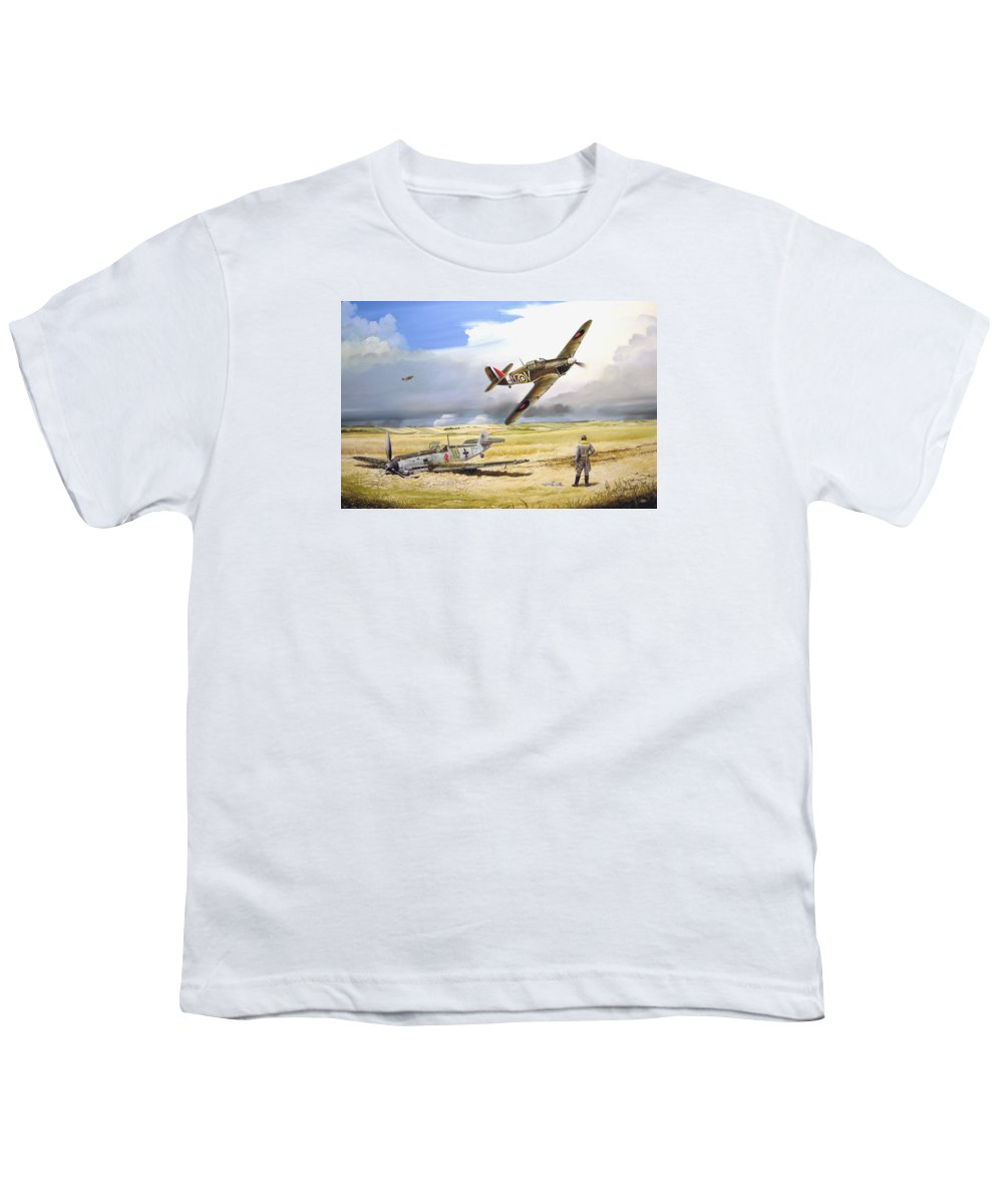 Painting Youth T-Shirt featuring the painting Outgunned by Marc Stewart