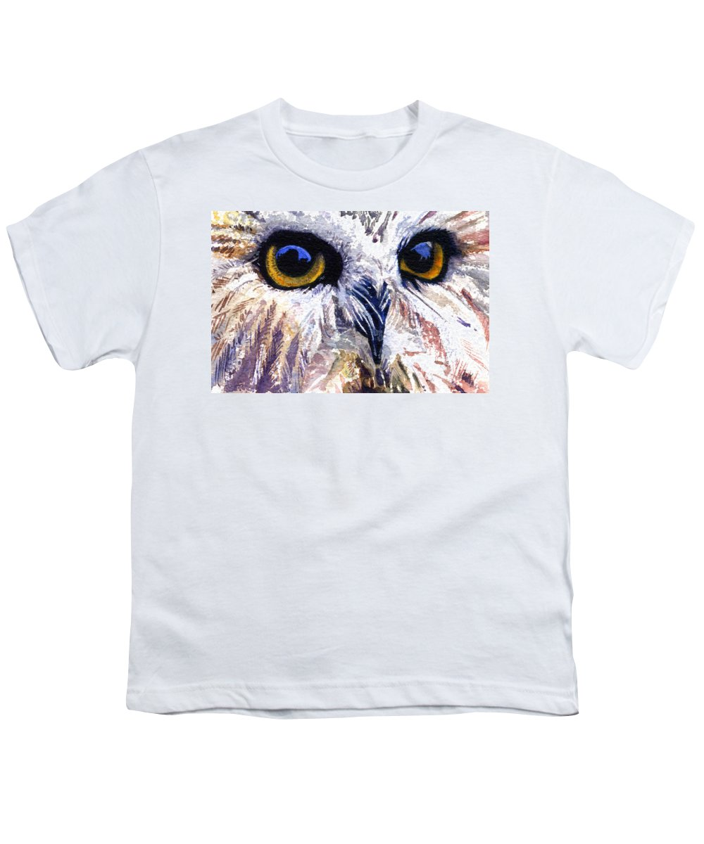 Eye Youth T-Shirt featuring the painting Owl by John D Benson