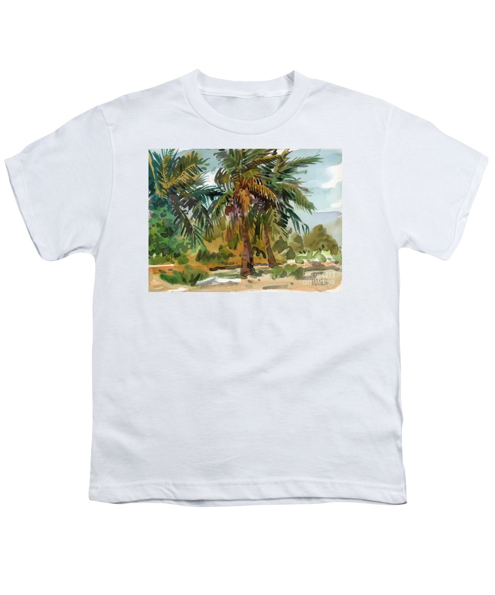 Palm Tree Youth T-Shirt featuring the painting Palms In Key West by Donald Maier