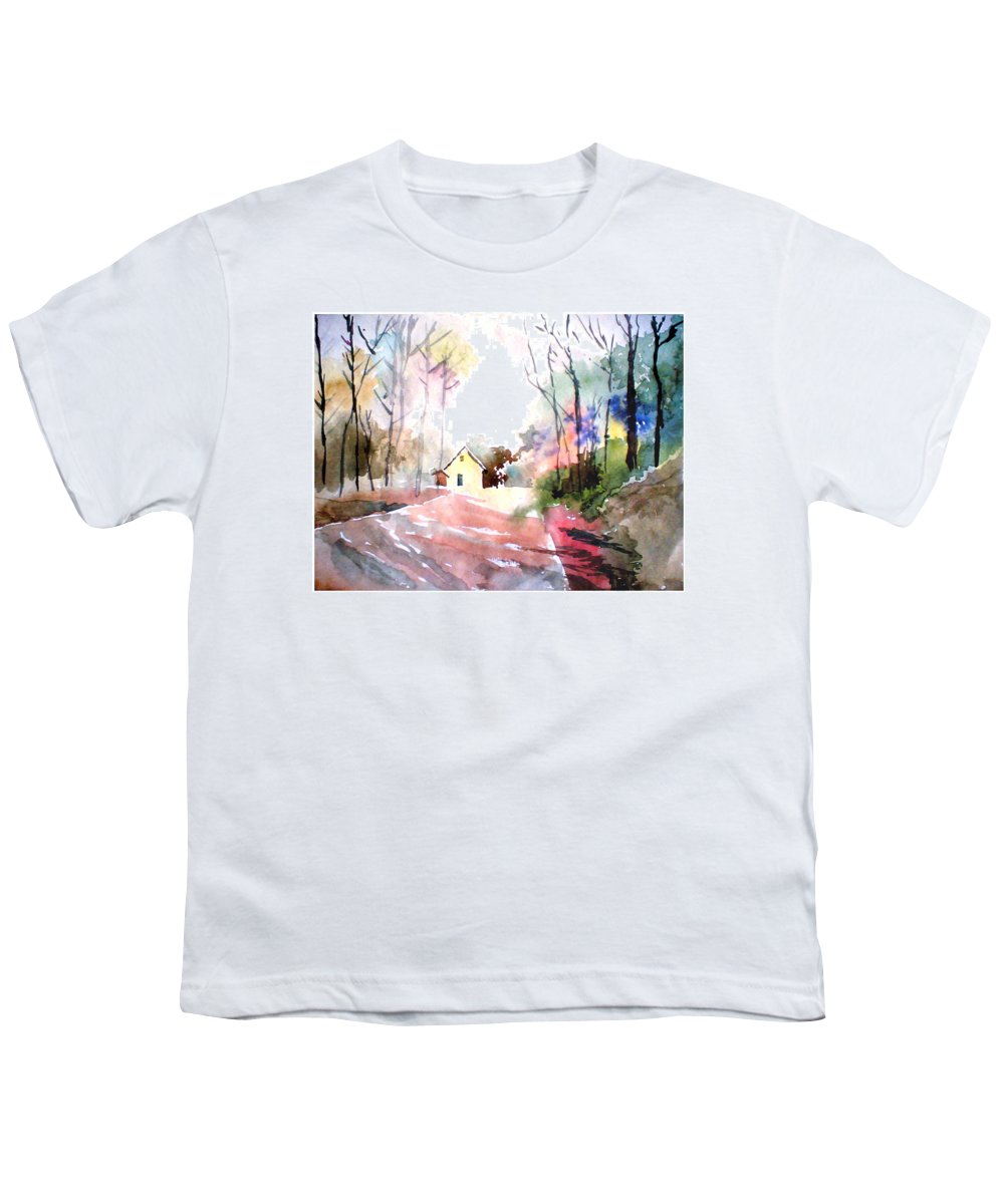 Nature Youth T-Shirt featuring the painting Path In Colors by Anil Nene