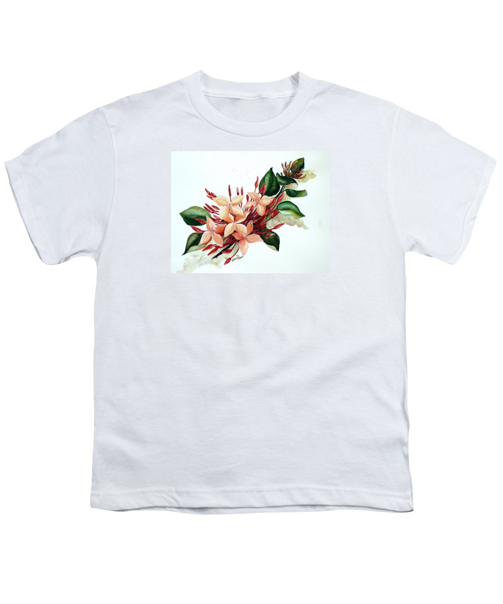 Floral Peach Flower Watercolor Ixora Botanical Bloom Youth T-Shirt featuring the painting Peachy Ixora by Karin Dawn Kelshall- Best