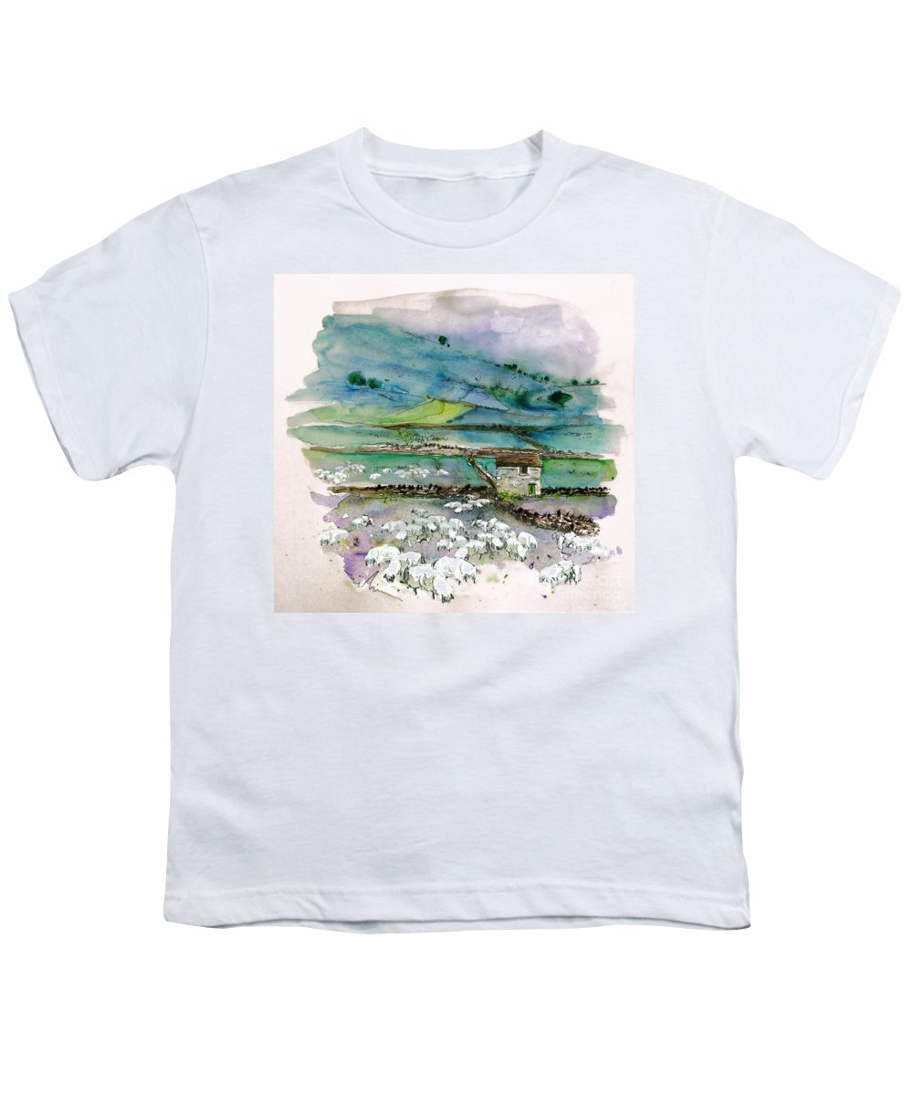 Paintings England Watercolour Travel Sketches Ink Drawings Art Landscape Paintings Town Youth T-Shirt featuring the painting Peak District Uk Travel Sketch by Miki De Goodaboom