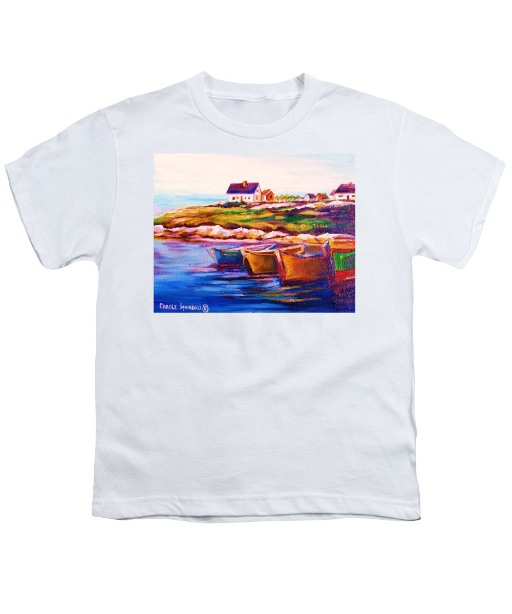Row Boats Youth T-Shirt featuring the painting Peggys Cove Four Row Boats by Carole Spandau
