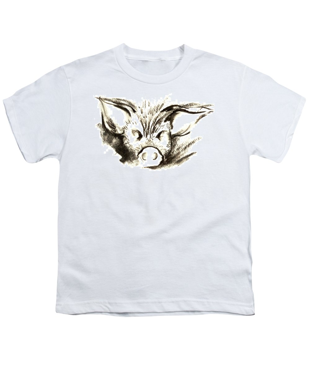 Animal Welfare Youth T-Shirt featuring the drawing Pig Headed by Mark Cawood