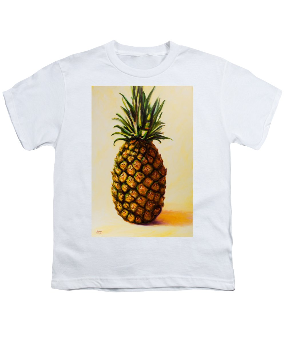 Pineapple Youth T-Shirt featuring the painting Pineapple Angel by Shannon Grissom