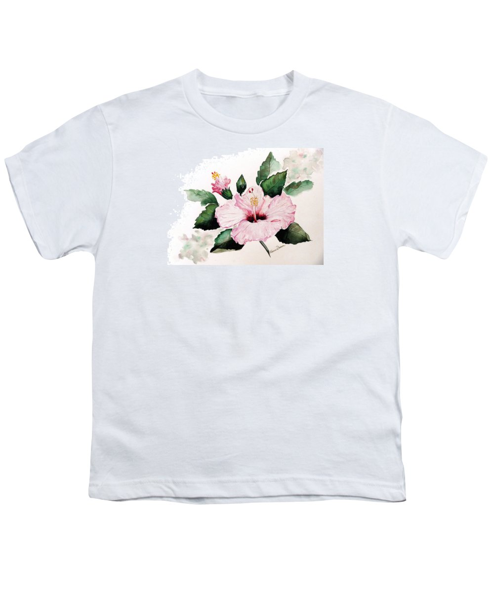 Hibiscus Painting  Floral Painting Flower Pink Hibiscus Tropical Bloom Caribbean Painting Youth T-Shirt featuring the painting Pink Hibiscus by Karin Dawn Kelshall- Best