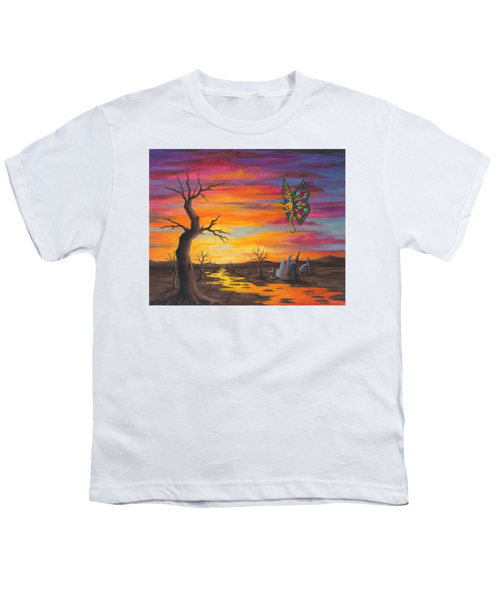 Fantasy Youth T-Shirt featuring the painting Planet Px7 by Roz Eve