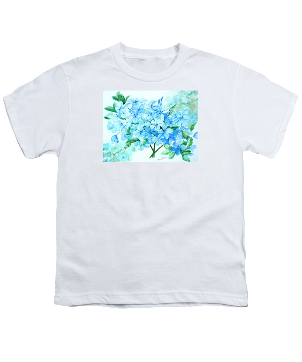 Floral Blue Painting Plumbago Painting Flower Painting Botanical Painting Bloom Blue Painting Youth T-Shirt featuring the painting Plumbago by Karin Dawn Kelshall- Best