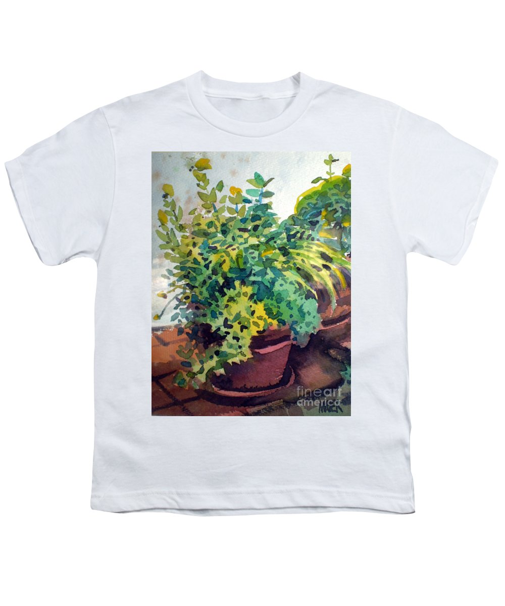 Herbs Youth T-Shirt featuring the painting Potted Herbs by Donald Maier