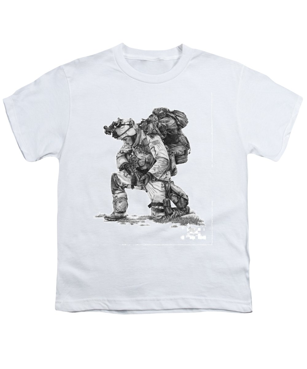 Pencil Youth T-Shirt featuring the drawing Praying Soldier by Murphy Elliott