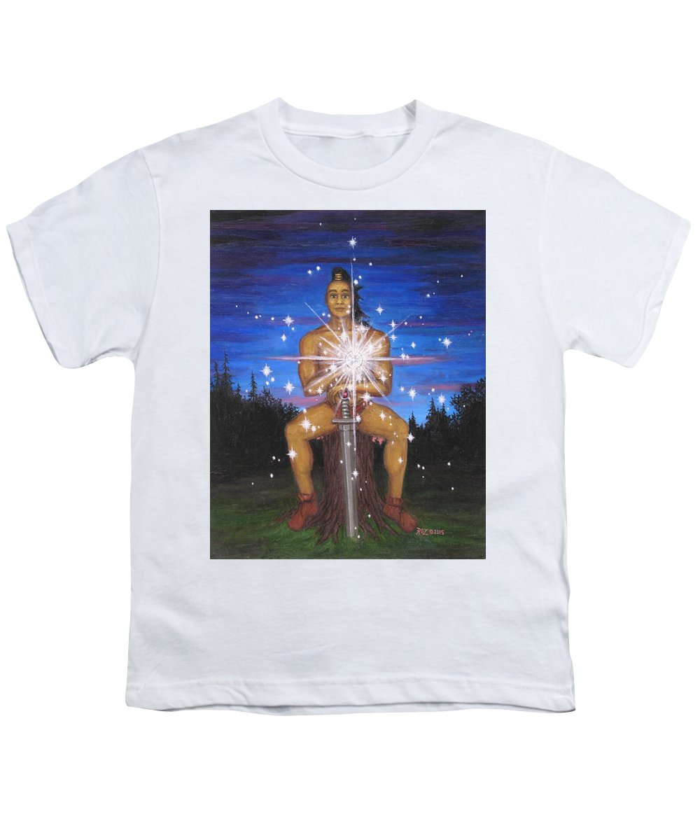 Fantasy Youth T-Shirt featuring the painting Protector Of The Mystical Forest by Roz Eve