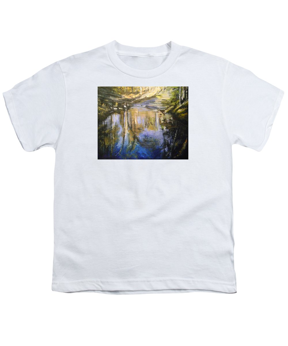 Puffers Pond Youth T-Shirt featuring the pastel Puffers Pond by Therese Legere
