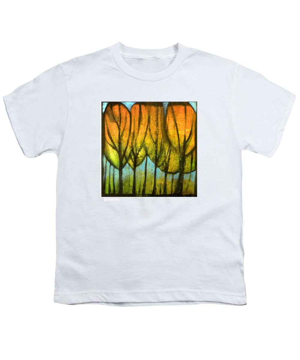 Trees Youth T-Shirt featuring the painting Quiet Blaze by Tim Nyberg