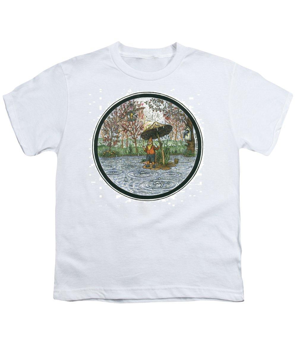 Rain Youth T-Shirt featuring the drawing Rain Gnome Rain Circle by Bill Perkins