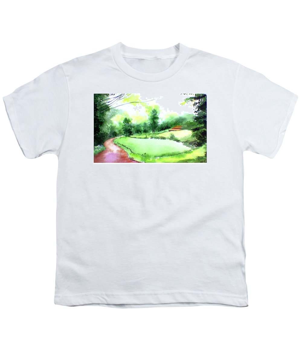 Landscape Youth T-Shirt featuring the painting Rains In West by Anil Nene