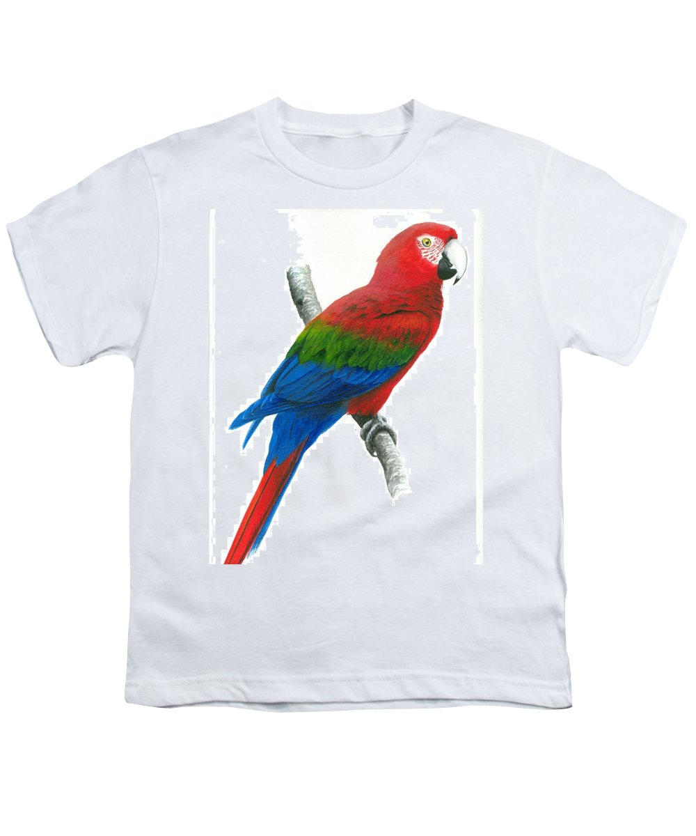 Chris Cox Youth T-Shirt featuring the painting Red And Green Macaw by Christopher Cox