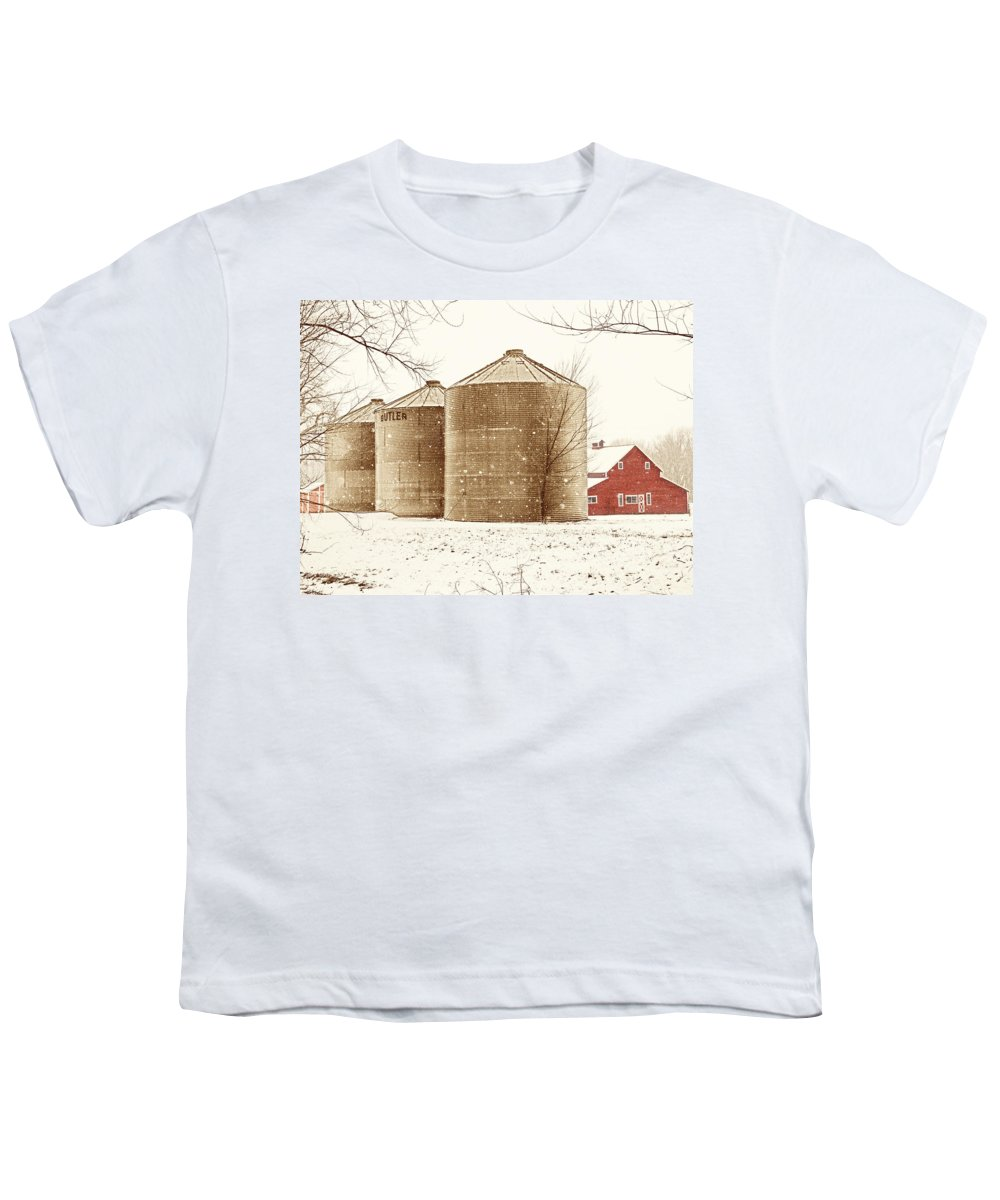 Americana Youth T-Shirt featuring the photograph Red Barn In Snow by Marilyn Hunt