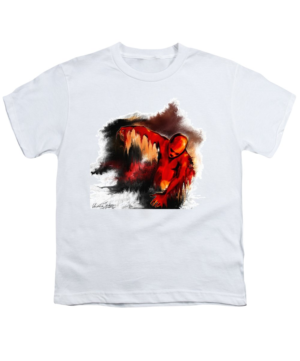 Red Man Passion Sureall Fire Youth T-Shirt featuring the digital art Red Man by Veronica Jackson