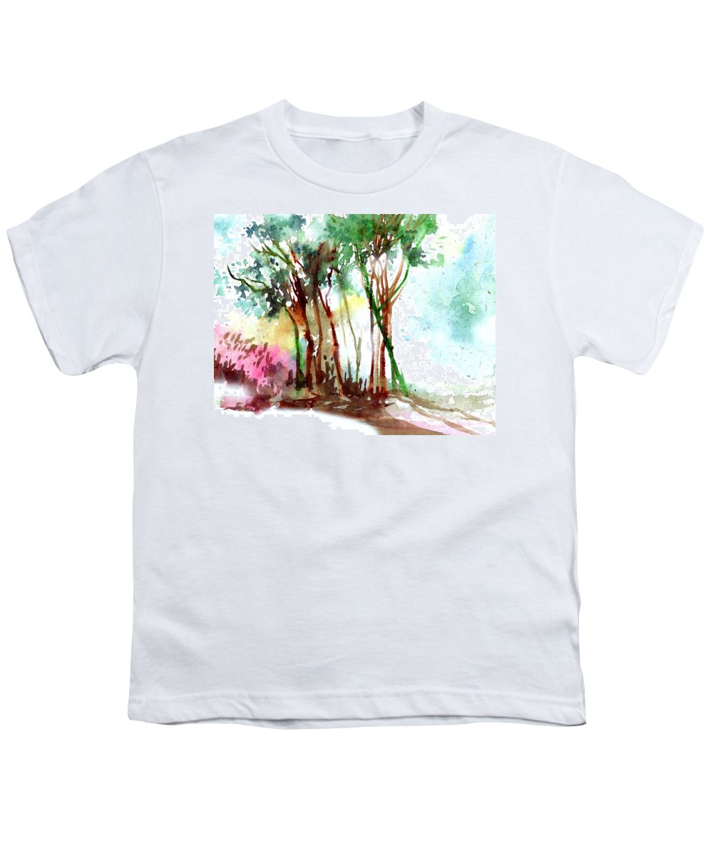 Landscape Youth T-Shirt featuring the painting Red Trees by Anil Nene