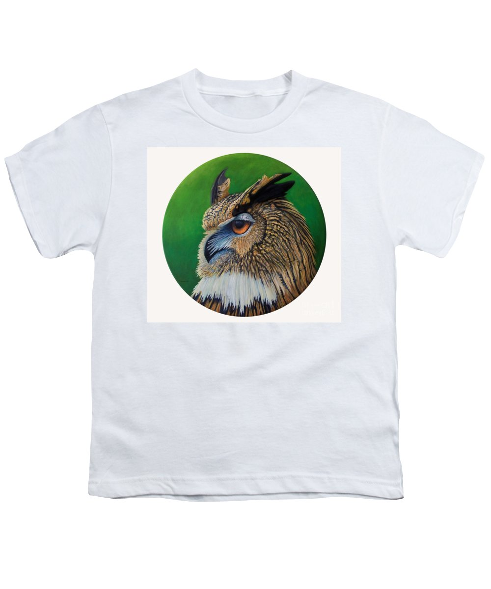 Owl Youth T-Shirt featuring the painting Regal Gaze by Brian Commerford