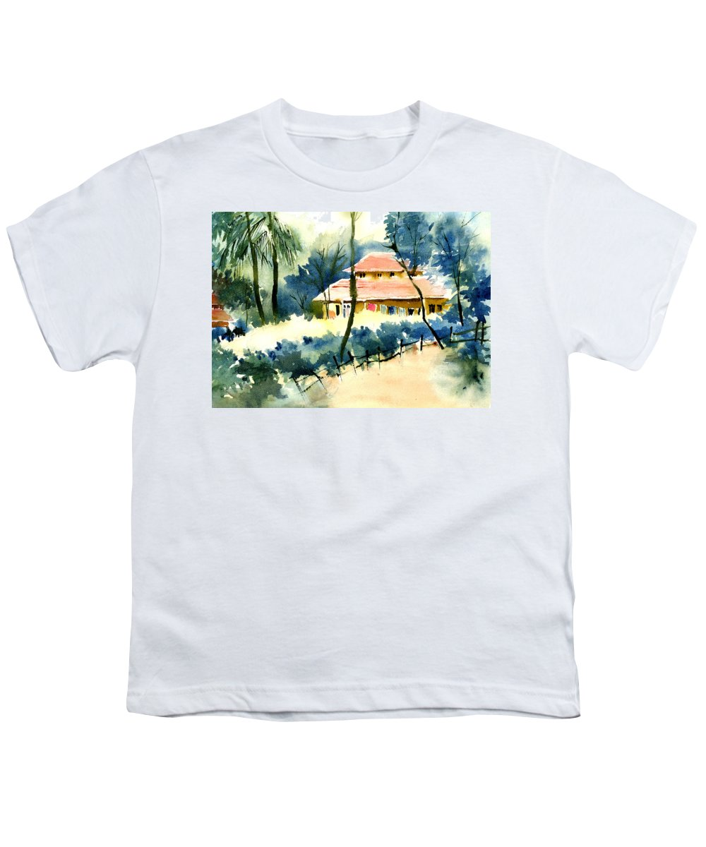 Landscape Youth T-Shirt featuring the painting Rest House by Anil Nene