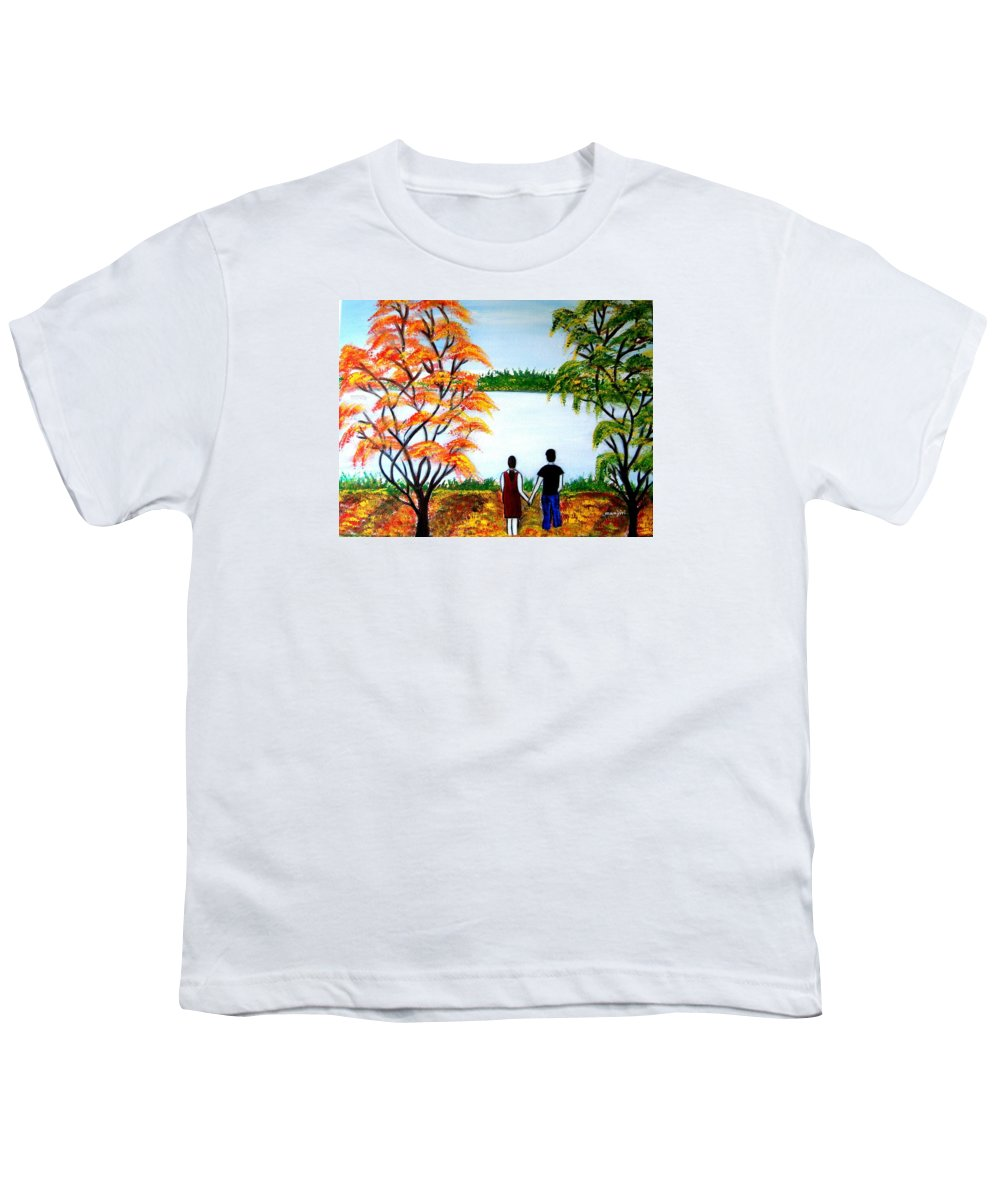 Romance Figures Autumn Orange Trees Green Pop Water Lake Love Valentine Yellow Lake Spring Bloom Youth T-Shirt featuring the painting Romance In Autumn by Manjiri Kanvinde