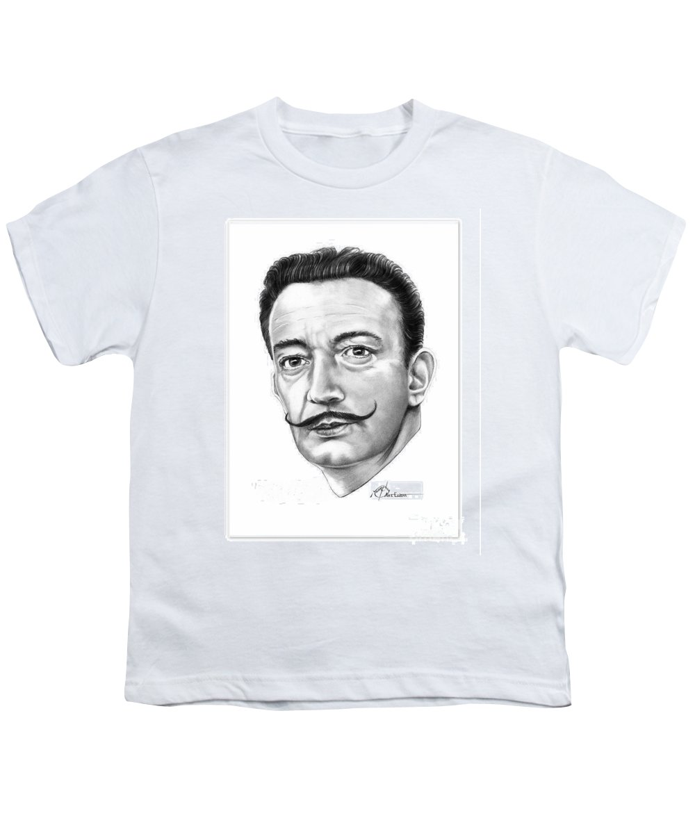 Drawing Youth T-Shirt featuring the drawing Salvador Dali by Murphy Elliott