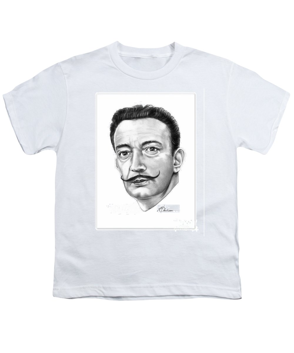 Salvador Dali Youth T-Shirt featuring the drawing Salvador Dali by Murphy Elliott
