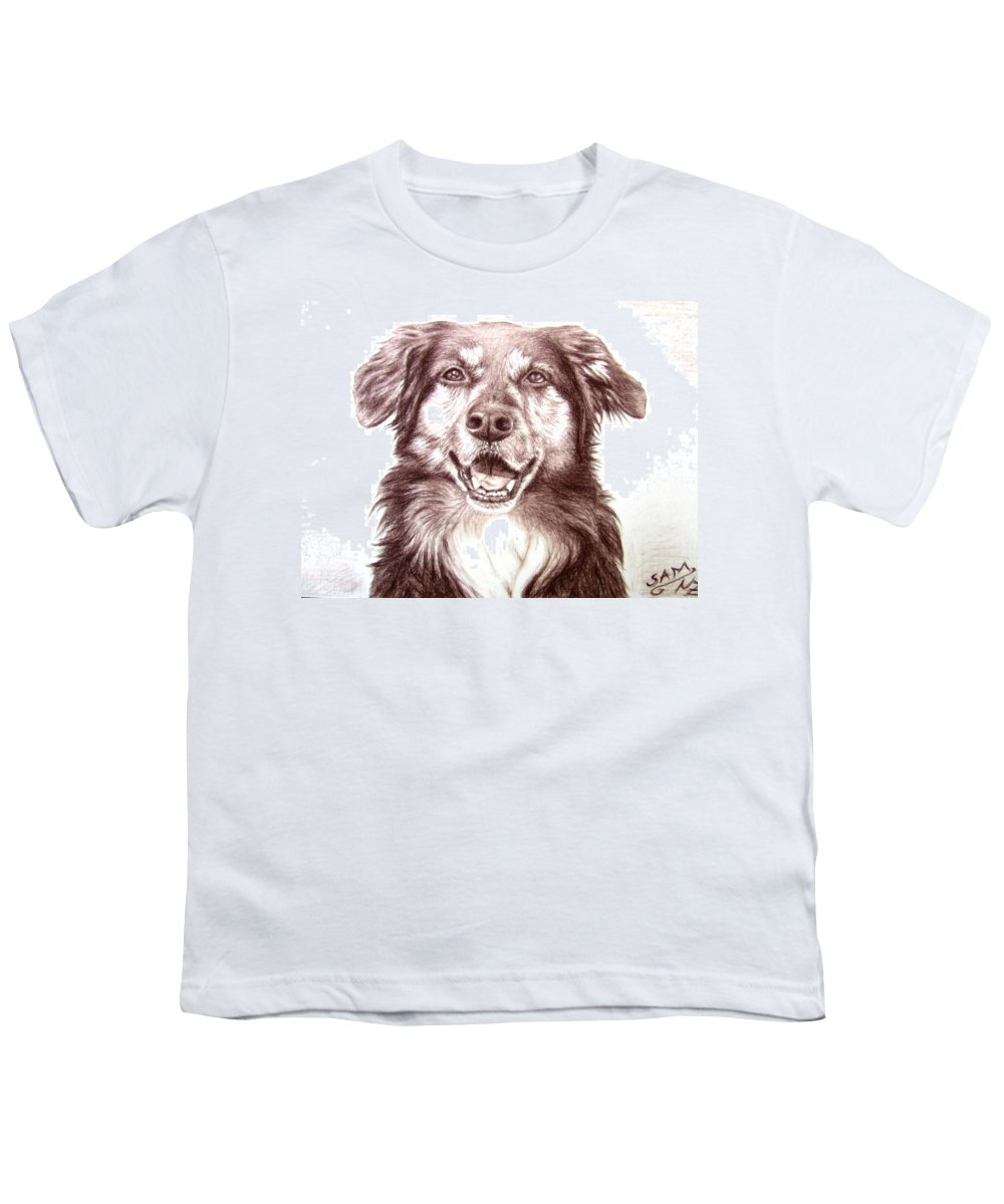 Dog Youth T-Shirt featuring the drawing Sam by Nicole Zeug