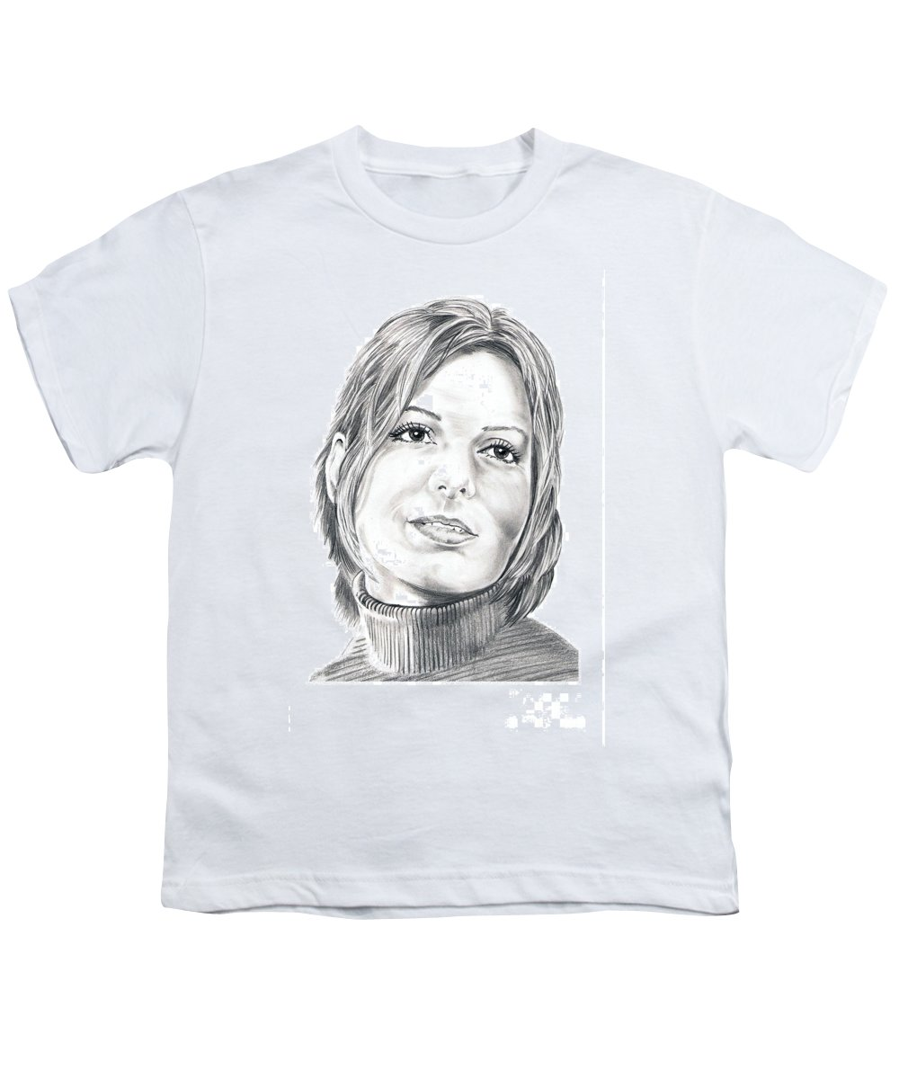 Drawing Youth T-Shirt featuring the drawing Sandra Bullock by Murphy Elliott