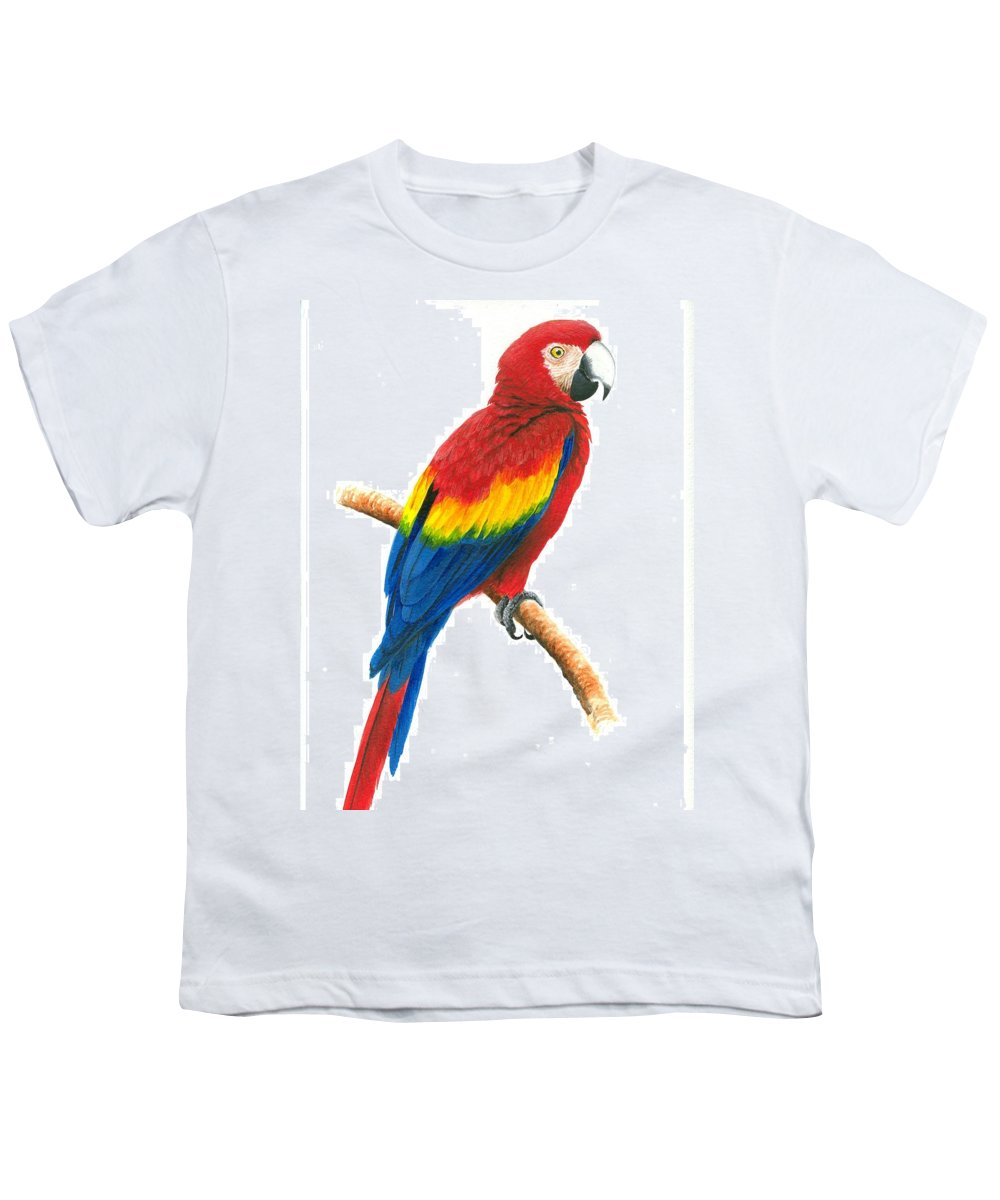 Chris Cox Youth T-Shirt featuring the painting Scarlet Macaw by Christopher Cox
