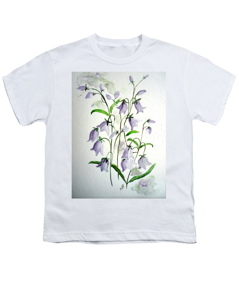 Blue Bells Hare Bells Purple Flower Flora Youth T-Shirt featuring the painting Scottish Blue Bells by Karin Dawn Kelshall- Best
