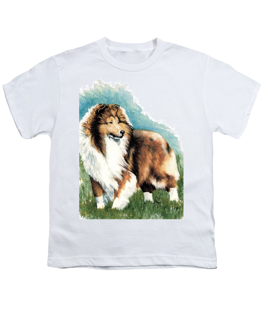 Shetland Sheepdog Youth T-Shirt featuring the painting Sheltie Watch by Kathleen Sepulveda