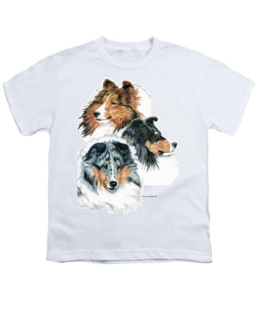 Shetland Sheepdog Youth T-Shirt featuring the drawing Shetland Sheepdogs by Kathleen Sepulveda