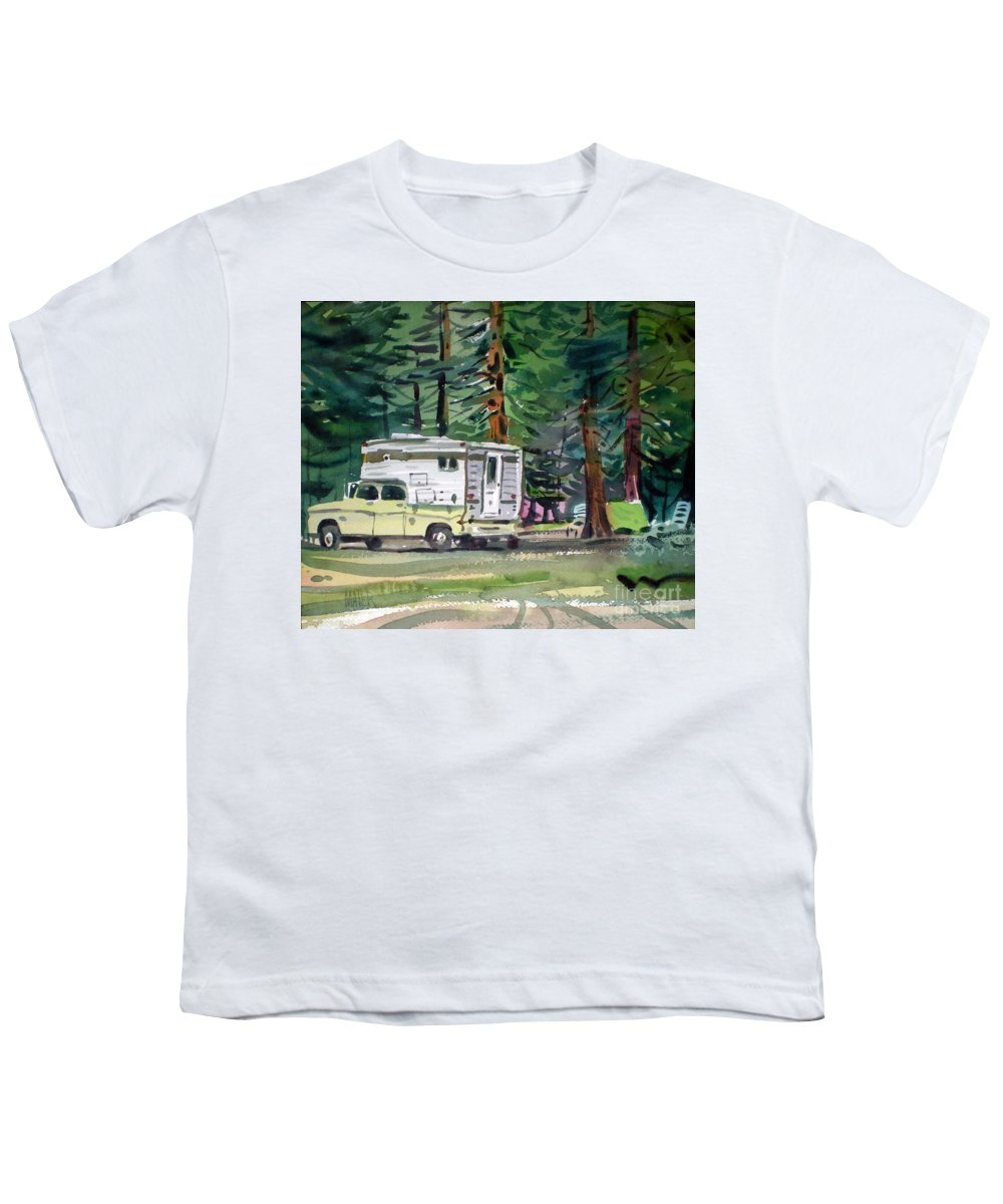Camping Youth T-Shirt featuring the painting Sierra Campsite by Donald Maier