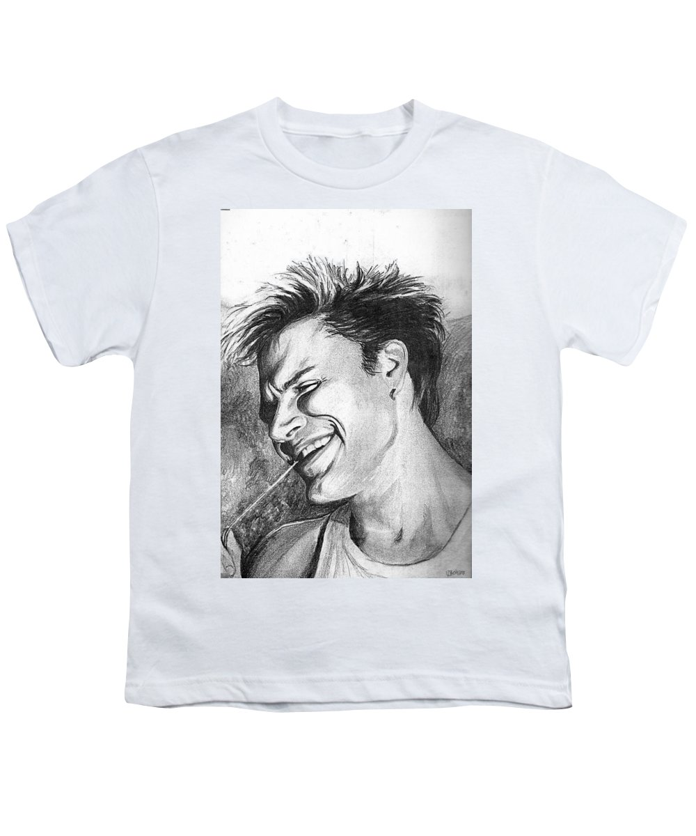 Simon Man Face Portrait Young Fresh Smile Youth T-Shirt featuring the drawing Simon by Veronica Jackson