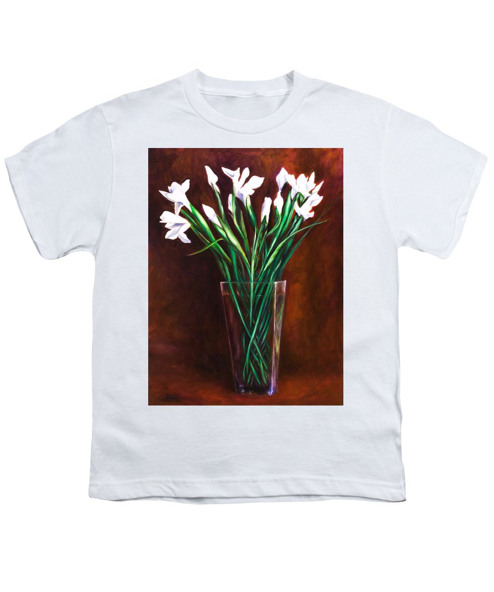 Iris Youth T-Shirt featuring the painting Simply Iris by Shannon Grissom