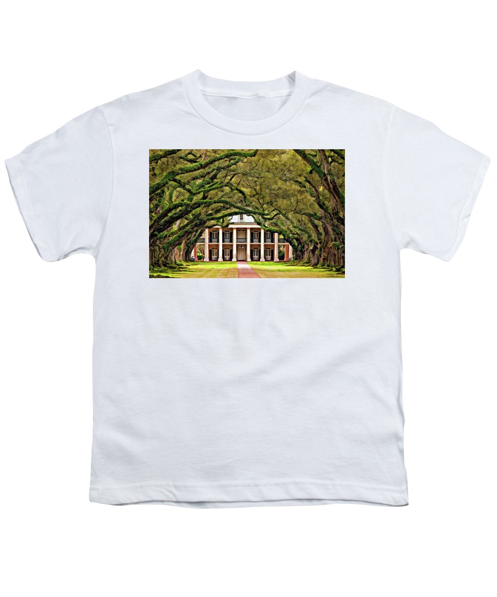 Oak Alley Plantation Youth T-Shirt featuring the photograph Southern Class Painted by Steve Harrington